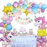 Einhorn Geburtstagsdeko Mädchen, FIMOON Deko Geburtstags Einhorn Luftballons, Happy Birthday Banner, 3D Einhorn Ballon für Mädchen Lady Kindergeburtstag Deko Mehrweg