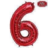 FUNXGO Folienballon Zahl in Rot- Riesenzahl ca.100cm Ballon - Folienballons für Luft oder Helium als Geburtstag, Hochzeit , Jubiläum oder Abschluss Geschenk, Party Dekoration (Rot [ 6 ])