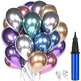 60 Stück Luftballons Geburtstag Dekoration, 12' Latex Luftballon Metallic Deko für Party Hochzeit Geburtstage Babypartys Weihnachts (Mehrfarbig)