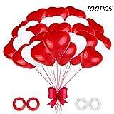JOJOR Herzluftballons Rot Weiß,100 Stück Herz Luftballons Hochzeit,Latex Herz Ballon Rot Helium 12 Zoll für Hochzeit Verlobung Valentinstag JGA Party Deko