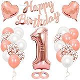 Geburtstagsdeko Mädchen 1 Jahr, Luftballon 1. Geburtstag Roségold, Geburtstag, Riesen Folienballon Zahl 1, Happy Birthday Girlande Folienballon für 1 Deko Geburtstag Party Mädchen Wiederverwendbar