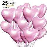 XUNKE Herz Folienballon, 25 Stück Herz Helium Luftballons Herzluftballons Heliumballon Folienballon Hochzeit Folienluftballon Geeignet für Geburtstag Brautdusche Valentinstag
