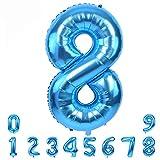 40 Zoll Blau Nummer Luftballon 0-9 Folien Zahlen ballon Riesenzahl Balloon Helium Zahlenballon Nummer 8 Ziffer 8 Heliumballons Zum Geburtstag Jahrestag Partybedarf Number 8