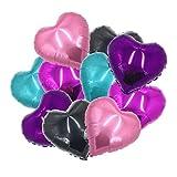 ballonfritz® Herzballons Set in Violett/ Pink / Rosa / Schwarz / Türkis 10-TLG. - XXL 18' Folienballon-Set als Hochzeit Deko, Geschenk oder Liebes-Überraschung zum Valentinstag
