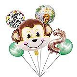 HXLFYM 1Set Cartoon Tier Braun AFFE Air Helium Ballon Zoo Safari Farm Thema Geburtstag Party Dekorationen für Kinder Baby Shower Kinder Spielzeug (Color : 2)