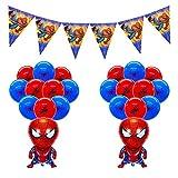 smileh Deko Geburtstag Spider Man Luftballons Spiderman Banner Girlande für Kinder Geburtstagsfeier Dekorationen