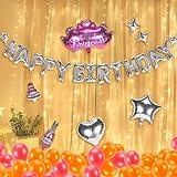 Geburtstags Deko,Geburtstags Dekoration,Geburtstags Luftballons mit Lichterkette,Alles Geburtstag Luftballons Banner,Folienballon kindergeburtstag,Luftballons 1 2 3 5 6 8 9 18 20.Geburtstag Mädchen