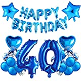 HONGECB Blau Geburtstagsdeko Set, 40. Geburtstag Party Dekoration, Luftballon Deko, Riesen Folienballon, Herz Stern Folienballon, für Junge und Mann Happy Birthday Girlande