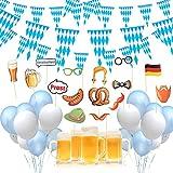 DAOUZL Oktoberfest Party Deko Dekoration, Oktoberfest Dekoration Set mit 2 Pcs 10m Bayrisch Wimpelkette, Oktoberfest Ballon Blau und Weiß, Oktoberfest Foto Requisiten, fur Deko Oktoberfest Party