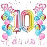 KATELUO Luftballon 10. Geburtstag, Kindergeburtstag Deko Mädchen 10 Jahr Ballons, Geburtstagsdeko 10 Jahr Mädchen, Deko Geburtstag 10 Jahr Mädchen, Riesen Folienballon 10, Geburtstagsdeko Mädchen 10