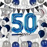 50. Geburtstagsdeko Blaues Silber, Daohexi 50 Geburtstag Party Deko Set für Männer Frauen, Riesen Zahl 50 Folienballon, 50. Konfetti Luftballon, Happy Birthday Banner, Tisch Deko, mit Luftballonpumpe