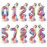 YSJSPOL Ballon 14pcs / Set Regenbogen Anzahl Luftballons mit Gold Crown Unicorn-Party Folienballon-Geburtstags-Party-Dekorationen Party (Color : UnicornA Number Set, Shape : Number6 Set)