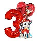 Marshall Geburtstags Set Folienballon Luftballon Paw Patrol Team Hunde Riesenzahl 3 Hund Kindergeburtstag Deko Dekoration Mottoparty Party Herz Marschall Ballon (Zahl 3)