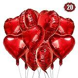 Herz Folienballon rot 20 Stück Herz Helium Luftballons Herzluftballons Heliumballon Folienballon Hochzeit Folienluftballon Geeignet für Geburtstag Brautdusche Valentinstag (Rot-20pcs) Product Name