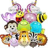 Balloono 14x Folienballons mit Tieren - Kindergeburtstag Deko für Jungen & Mädchen - Helium Ballons, viele Bunte Tiere - Luftballons Schweben mit Helium - Einfaches Befüllen