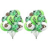 Xinqin 20 Stück Geburtstag Party Zubehör Rugby Ball Luftballons, 12 Zoll Grün Konfetti Luftballons Latex Glitter Ballons Helium Luftballons Rugby Ball Thema Luftballons für Hochzeit Party Dekoration
