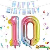 Folienballon Zahl in Farbe,Luftballon Zahlen,Riesige Folienballon,Zahl Geburtstagsdeko,Geburtstag Dekoration bunt,Folienballon im Zahlen-Design,Party Supplies Folienballon im Zahlen-Design (10)