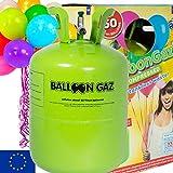 BALLONGAS FÜR 50 LUFTBALLONS + 50 BALLONS + FÜLLVENTIL + 50 ÖKO-BALLONSCHNUR   Helium Einweg Flasche Luftballon Folienballon Deko Geburtstag Party Hochzeit