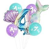 HXLFYM Mermaid Digitalfolie Ballons Meerjungfrau Geburtstag Party Cup Mermaid Happy Birthday Balloon Babyparty Ballons Dekoration Geburtstag (Color : A4)