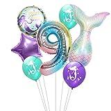 Haosell Luftballon 9. Geburtstag Meerjungfrau Deko, Großes Meerjungfrau Luftballon 9 Jahr Kindergeburtstag Deko Mädchen Lila Birthday Zahlen 9 Folienballon, Ballon-Set Deko lila bunt, Meer, Muschel