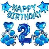HONGECB Zahl 2 Ballon, Blau Geburtstagsdeko Set, Happy Birthday Folienballon 2, Blau Herz Stern Folienballon, Party Dekoration, für Jungen Mädchen Happy Birthday Girlande