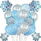 vamei Luftballon Frozen ELSA Party Deko Blau Luftballon Folienballon mit Schneeflocke Hanging Dekorationen Party Deko Latex Luftballons ELSA Party Hochzeit Geburtstagsparty