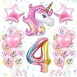 specool 4. Geburtstagsfeier Dekoration Mädchen, Erste Einhorn Geburtstagsdekoration Set Pink, GroßE Nummer 4 Folienballon, Rosa WeißE Latexballons, 4. Einhorn Partyzubehör für Babys