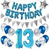 Ouceanwin 13. Geburtstag Dekoration Blau Kindergeburtstag Partyset, Riesen Luftballons Zahl 13, Folienballons Happy Birthday Banner, Wimpelkette Banner Silber, 13 Jahre Geburtstagsdeko für Junge