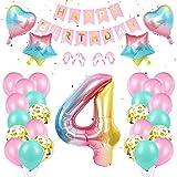 Luftballon 4 Geburtstagsdeko,Happy Birthday Banner und Rosa Folienballon,Regenbogen Farbverlauf Folienballon für Deko Mädchen Kinder Geburtstag Partyzubehör
