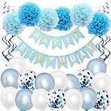BEAUTYBIGBANG Geburtstagsparty-Dekorationen 'Happy Birthday'-Banner mit silberfarbenem Lametta-Vorhang für Mädchen, Kinder und Erwachsene, Konfetti-Ballons, Pomps, Seidenpapier.