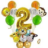 Jxuzh 22pcs Dschungel Deko Luftballons Safari Party Dekorationen 2. Geburtstag Junge Luftballons Tier Folienballons XL Zahl 2 Zahlen Ballon Urwald Party Kinder Deko Dschungel Geburtstag Deko