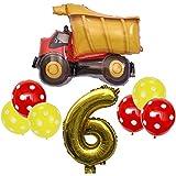 DIWULI, großes Baufahrzeug Luftballon Set, XXL Zahl 6 Zahlen-Ballon gold, Folien-Ballons, Latex-Ballons gelb rot, 6. Kinder-Geburtstag Junge Mädchen, Motto-Party, Dekoration, Ballon-Set, Baustelle