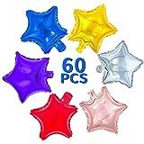 Folienballons in Sternform, 60 Stück, 25,4 cm, bunte Sternballons aus Aluminium für Geburtstag, Valentinstag, Hochzeit, Abschlussball, Verlobung, Party, Dekoration