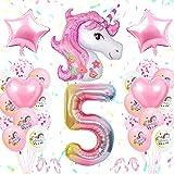 5. Geburtstagsfeier Dekoration Mädchen, Erste Einhorn Geburtstagsdekoration Set Pink, GroßE Nummer 5 Folienballon, Rosa WeißE Latexballons, 5. Einhorn Partyzubehör für Babys