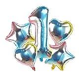 Yanqhua Ballon 5pcs / Set 32 '' Gradient Anzahl Folienballon 18 '' Stern-Herz Helium Globos for Geburtstags-Party-Dekoration 2020 Weihnachten Neujahr Ballon (Color : Cg0135pn 1)