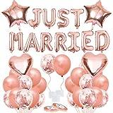 Bluelves Just Married Girlande Luftballon Set, Hochzeits Ballons Deko, Hochzeitsballon, Just Married Ballon für Heiratsantrag Standesamt Verlobung Hochzeitsgeschen