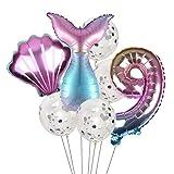 JSJJAYH Ballon Mermaid Party Balloons Anzahl Folienballon Kindergeburtstag-Party-Dekorationen Dekor Helium Globos décoration (Color : Pink 9)