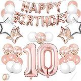 Luftballon 10. Geburtstag Rosegold,Geburtstagsdeko 10 Jahr Mädchen,Happy Birthday Dekoration Zahl,kunterbunte Luftballons Metallic,Nummerndekoration,Riesen Folienballon,Happy Birthday Dekoration…