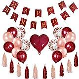 Geburtstagsdeko Weinrot Happy Birthday Girlande Geburtstag Konfetti Luftballons Rosegold Latexballons Herz Stern Folienballon und papierquasten Mädchen Frau Jahrestag Wiedervereinigung Partyzubehör