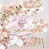 Lunriwis 105 Stück Luftballons Girlande Kit Gold Konfetti Latex Ballongirlande für Babyparty Kinder Geburtstagsdeko Mädchen Hochzeit Party Dekoration
