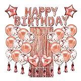 Handor U.S Geburtstagsparty-Luftballons, Roségold Happy Birthday Ballons Banner und Konfetti Latex Ballons Party Dekoration Kit