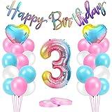 Luftballons 3 Geburtstag Rosa,AivaToba Geburtstagsdeko Mädchen 3 Jahre, 3.Geburtstag Mädchen Deko, Happy Birthday Girlande Riesen Folienballon 3 Rosa,Zahlen Ballon 3 Deko zum Geburtstag