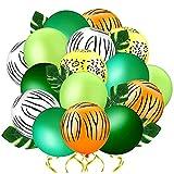 44 PCS Luftballons Konfetti Ballons, Dschungel Kindergeburtstag Deko, 12 Inch Happy Birthday Girlande Palmblätter Deko Helium Luftballons, für Babyparty Kindergeburtstag Deko Geburtstagsballons