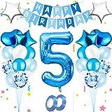 Luftballon 5,Happy Birthday Folienballon,Nummerndekoration,Blau Luftballons Metallic,Riesen Folienballon,Happy Birthday Folienballon,Happy Birthday Dekoration Zahl,Happy Birthday Dekoration
