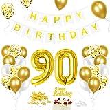 Luftballon 90. Geburtstag Golden, Geburtstagsdeko 90 Jahr, Ballon 90. Geburtstag, Riesen Folienballon Zahl 90, Happy Birthday Folienballon 90, Ballon 90 Deko zum Geburtstag Mann Frau