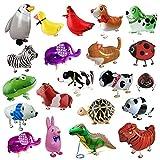 LZYMSZ 20Pcs Walking Farm Tier Luftballons Set, Helium Mylar Folienballon, Haustiere Air Walker Tierballons Spielzeug für Kinder Kinder Geburtstag Party gefallen Dekor Baby Shower Geschenk