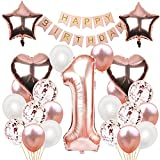 HONGECB Luftballon 1. Geburtstag Rosegold, Geburtstagsdeko Mädchen Set, Konfetti-Paillettenballon, Herz Stern Folienballon, Happy Birthday Banner, für Dame Mädchen Geburtstags Festival Dekoration