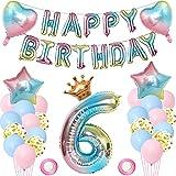 Luftballon 6. Geburtstag Deko Mädchen, Geburtstagsdeko 6 Jahr Rosa Mädchen, Folienballon Zahl 6, Happy Birthday Folienballon Banner