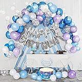 Eiskönigin Geburtstagsdeko Mädchen, Geburtstag Dekoration Set Lila Blaue Weiße Blaue Metallic Luftballons Latex Ballons Party Ballons Party Ballons für Geburtstag Hochzeit Mädchen Party Dekoration