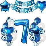 HONGECB Blau Geburtstagsdeko Set, Deko 7 Geburtstag ballon Junge, Herz Stern Folienballon, Konfetti Latexballon, Happy Birthday Girlande Banner, für Geburtstagsfeier Dekoration